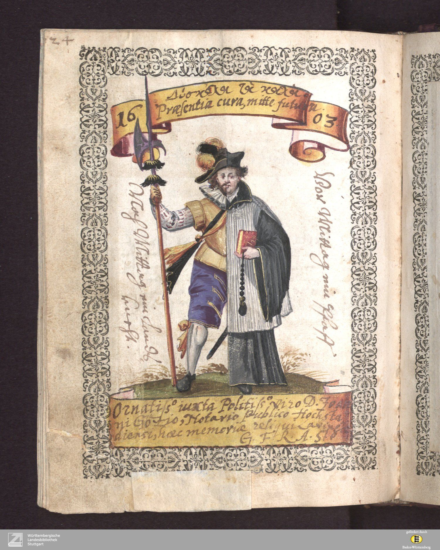 "the bifid priest/soldier but dated 1603, 5 years before the ""Pugillus Facetiarum"" first appeared. This f145v of the Johannes Gotz album, Stuttgart, WLB, cod. hist 8o 297 via the WLB site REPINNED TO MY NEW ""BIFIDITY"" BOARD!"