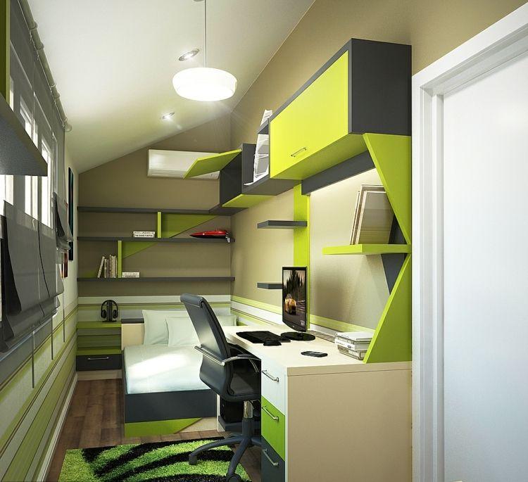 kleines kinderzimmer gruen grau jungen regale plissee schreibtisch idee kinderzimmer 1. Black Bedroom Furniture Sets. Home Design Ideas