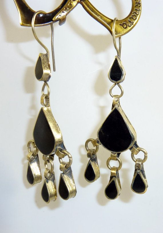 Schwarze Kuchi Tribal Ohrringe Hippie-Ohrringe von neemaheTribal