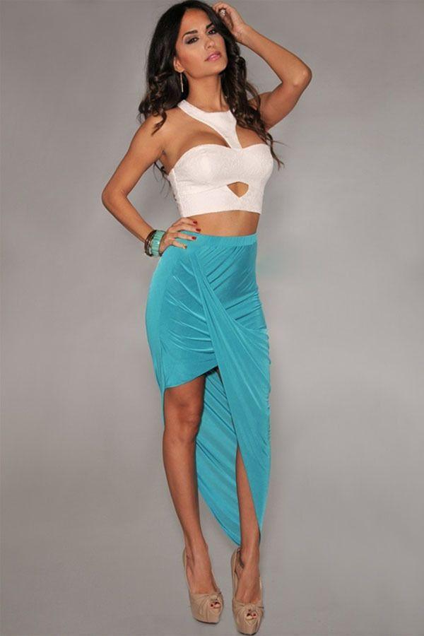 Falda larga azul asimétrica Nediba - Minifaldas y faldas sexys