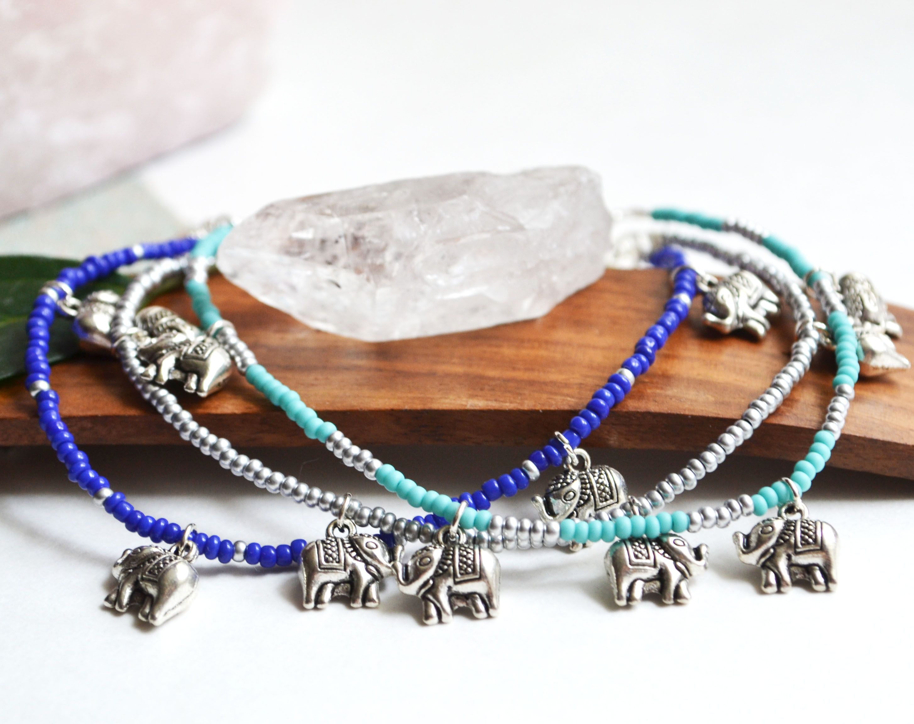 This Listing Is For One Of The Ankle Bracelets Pictured Choose Either A Simple Silver Bead Elephant Anklet Turquoise And Or Indigo Blue