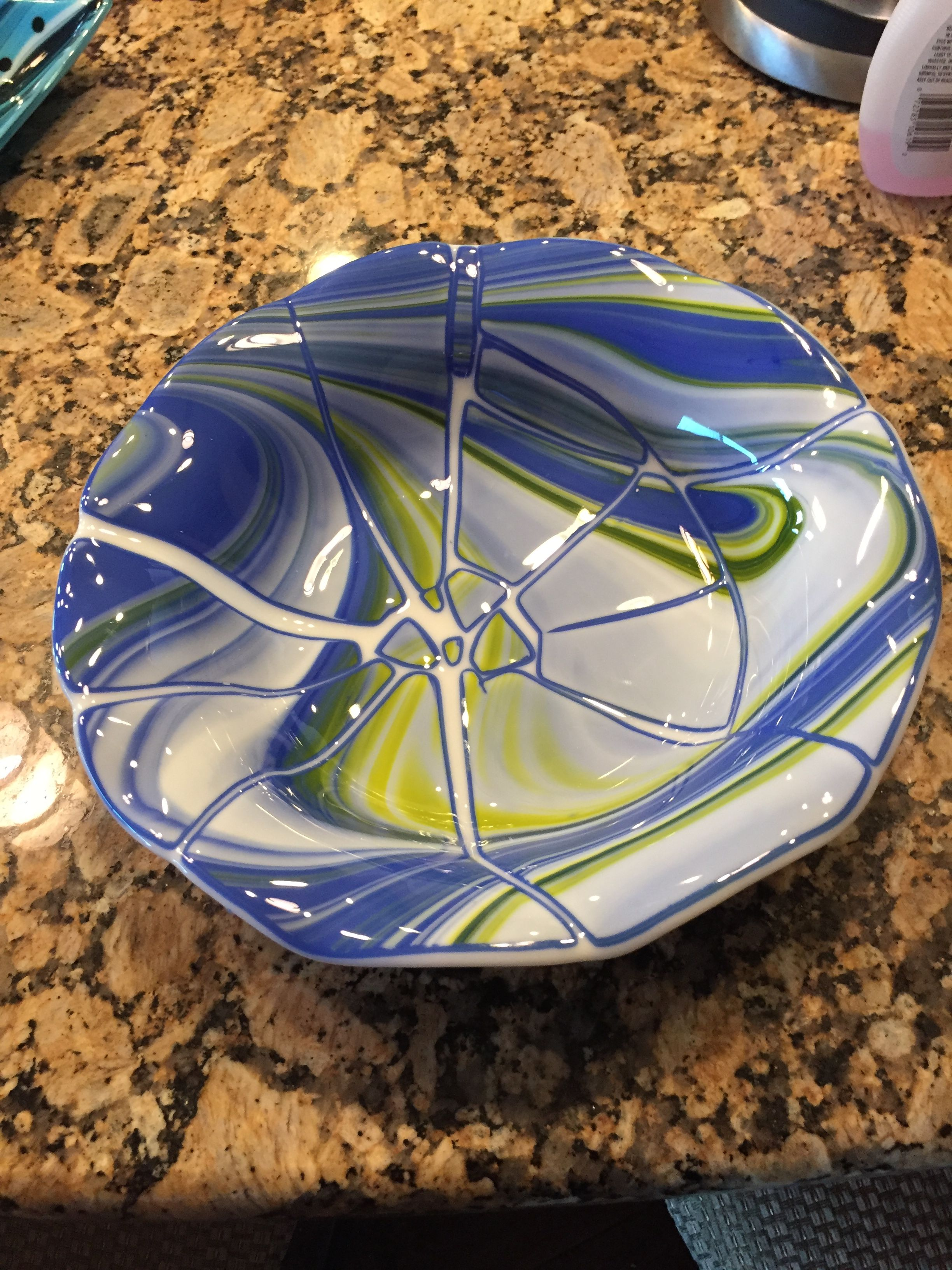 SeaHawks cracked bowl Glass, Bowl