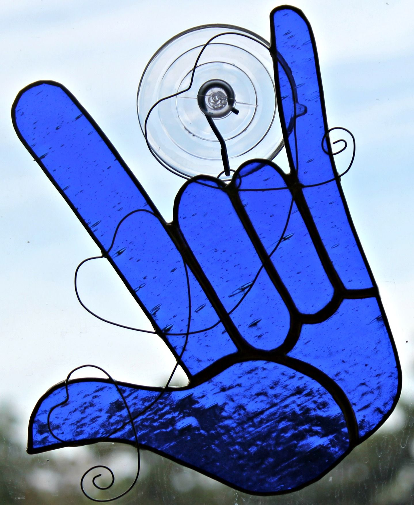 Blue Sign Language Hand Symbol For I Love You Stained Glass