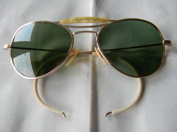 552b9844e Vintage Visionade 1/10 12K GF Pilot Aviator WWII Sunglasses 1940s.Anti  glare Green lenses.Made in USA.Excellent.