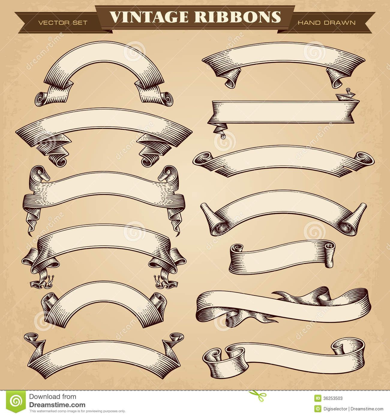 Vintage Ribbon Banners Vector Collection Vintage Ribbon Banner Ribbon Banner Vintage Ribbon