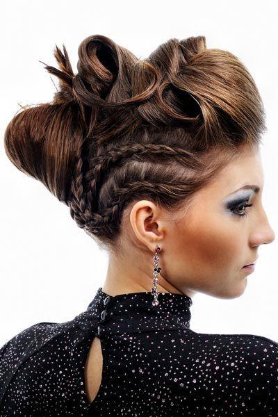 Halb-geflochtene hochgesteckte Abendfrisur – Hochsteckfrisuren für lange und mittellange Haare