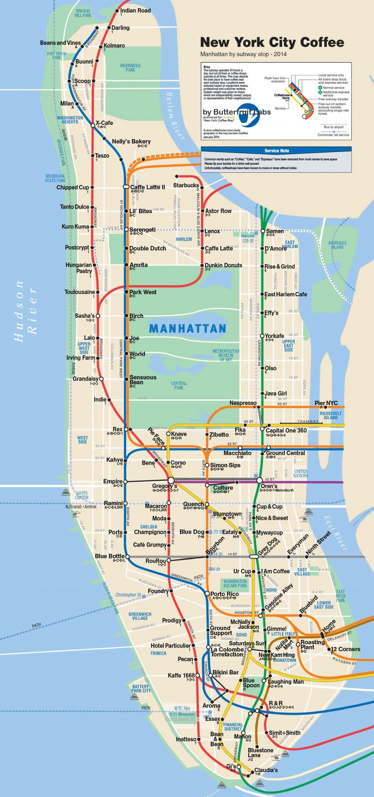 this map shows the best coffee shop near every manhattan subway stop