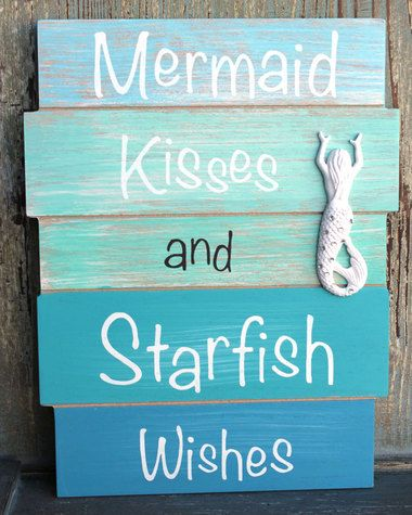 Mermaid Kisses and Starfish Wishes Wood Plank Sign - Coastal & Beach Wall Decor - California Seashell Co #mermaidbathroomdecor