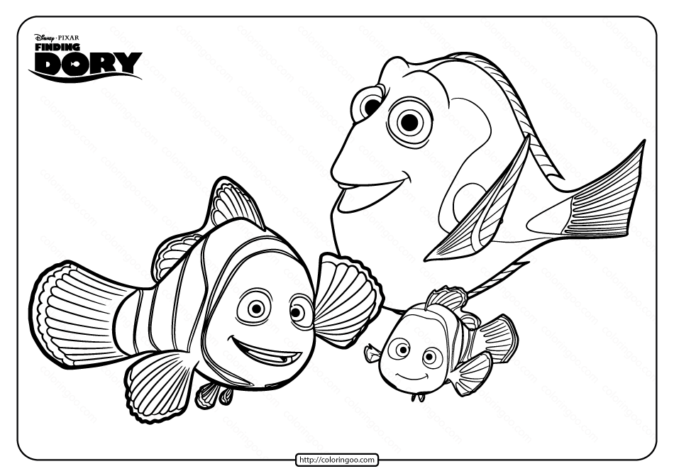 Disney Finding Dory Marlin Nemo Coloring Pages Dory and
