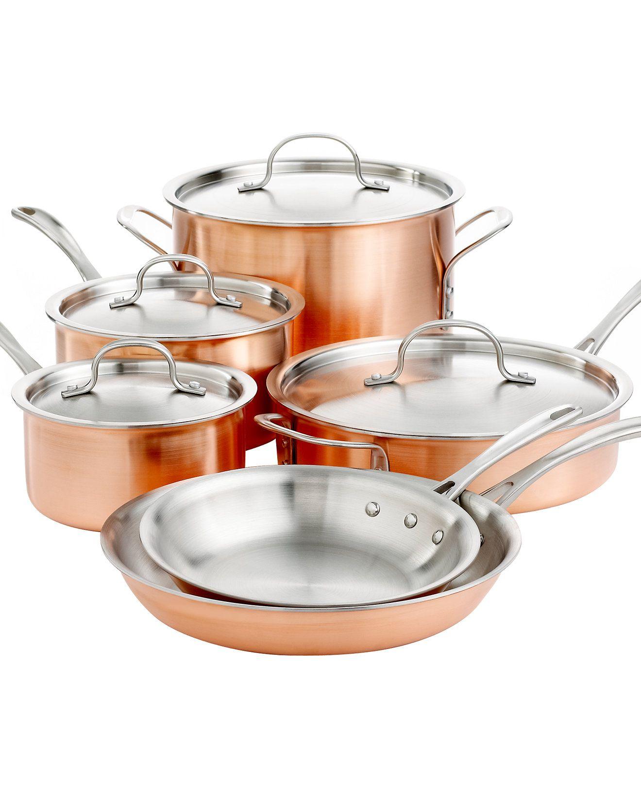 Calphalon Tri Ply Copper 10 Piece Cookware Set | Cocina, Cocinas y Satén