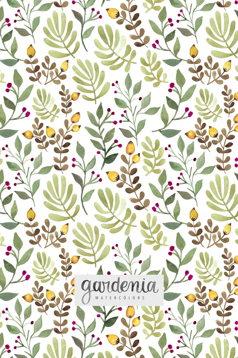 Hand Painted Watercolor Designs Surface Pattern Designers Autumn