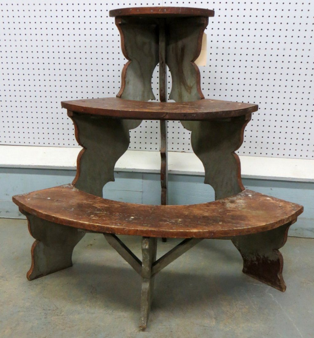 Vintage wooden music stand book stand by vintagearcheology on etsy - Lot 16 Three Tier 1 2 Round Plant Stand In Original Red An