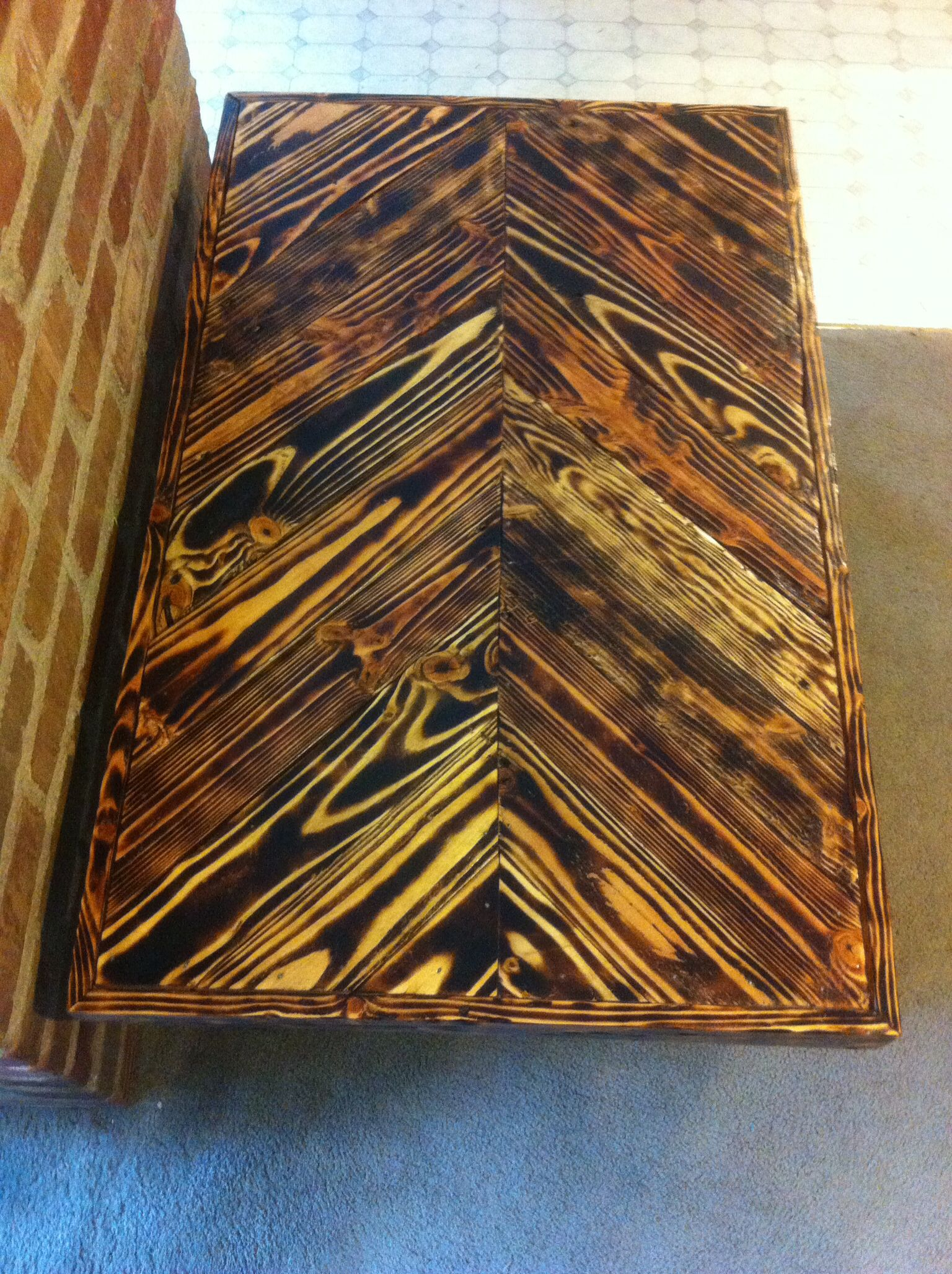 Pallet Wood Coffee Table With Chevron And Torched Wood
