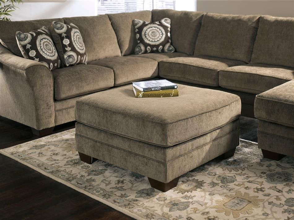 Oversized Sectional | ... Marble Brown Tan Chaise Oversized Plush SECTIONAL  Sofa Ottoman Set
