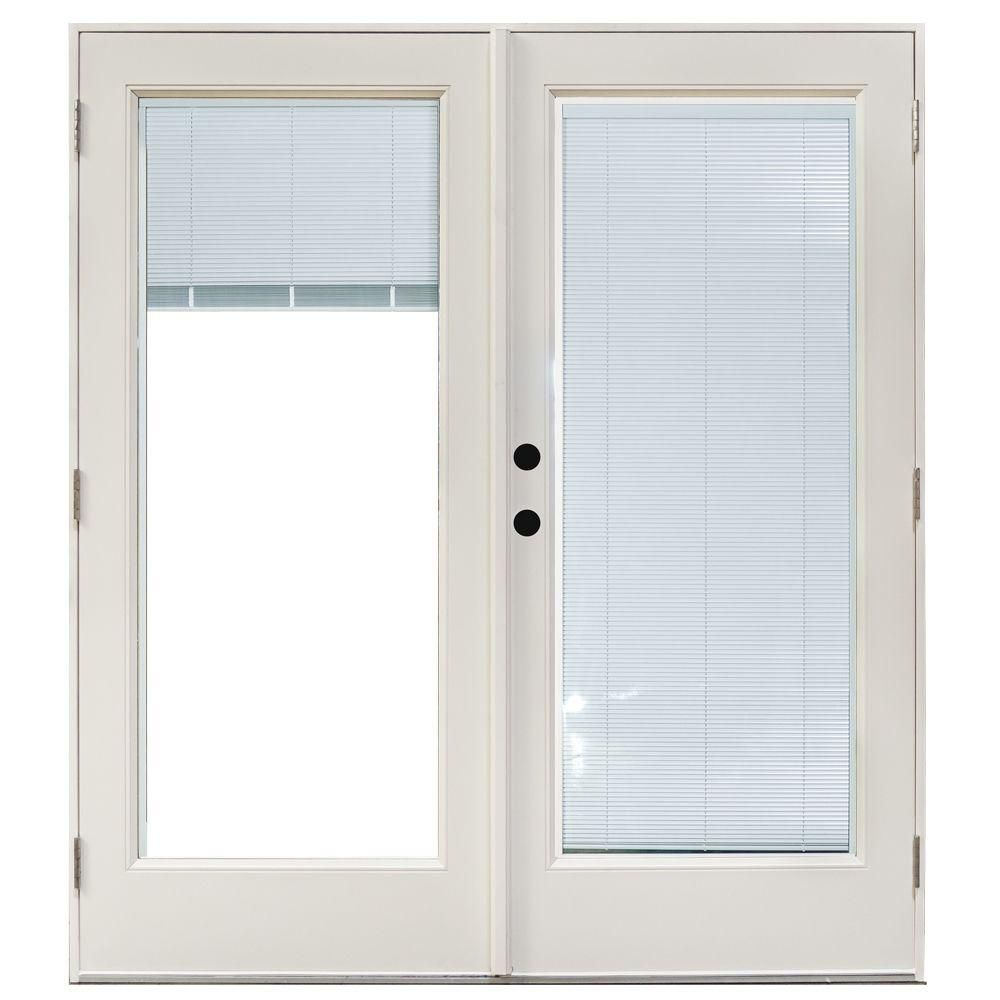Mp Doors 60 In X 80 In Fiberglass Smooth White Right Hand Outswing Hinged Patio Door With Built In Blinds Ht5068r002wl Patio Doors Exterior Doors With Glass Hinged Patio Doors