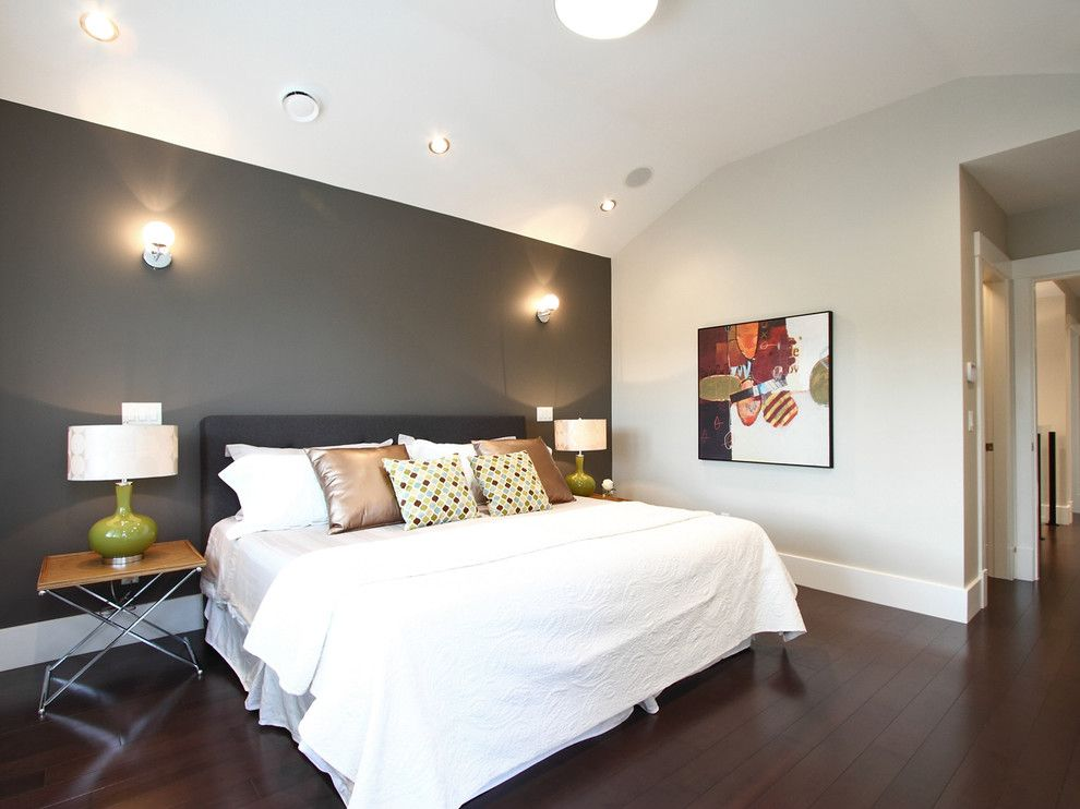 Love the dark Grey Accent Wall Color - Interior Design, Charming  Contemporary Bedroom With Dark Gray Accent Wall Paint Ideas Also Elegant  Floor Board Design ...