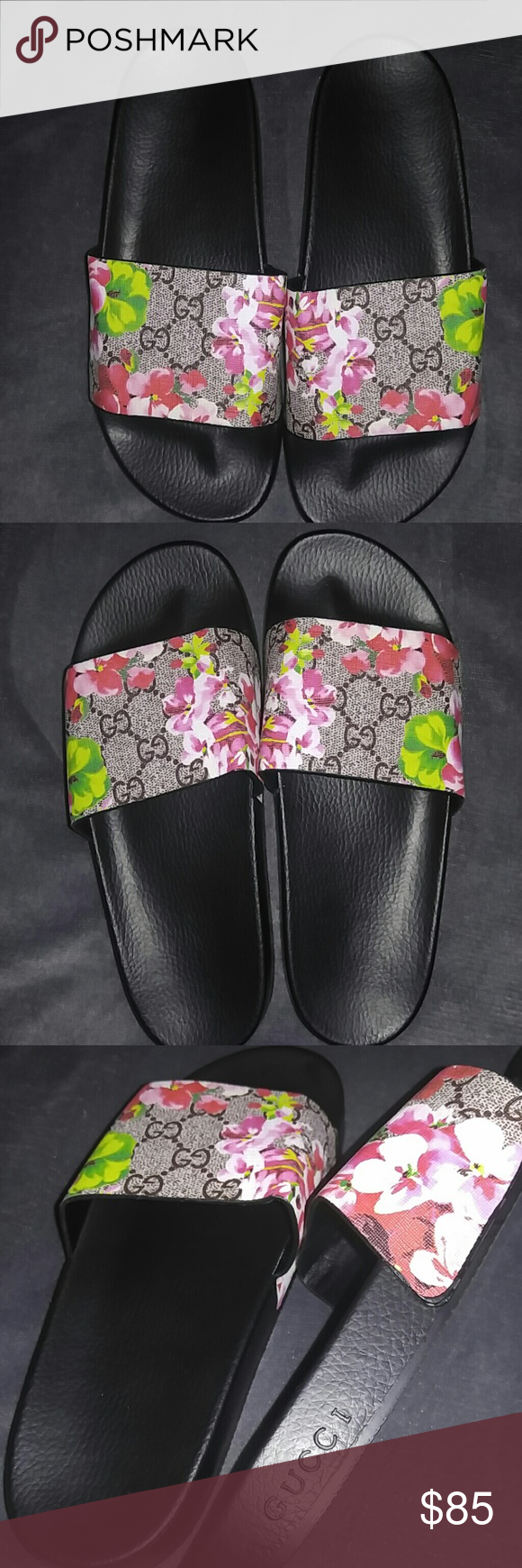 05b7c8e0bd29 Gucci Slides Gucci Inspired floral slides. I m a size 7.5 and these fit too  big. Gucci Shoes Slippers