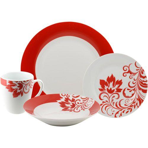 Madison Avenue By 10 Strawberry Street Valentina 16 Piece Dinnerware Set Square Dinnerware Set Dinnerware Red Dinnerware
