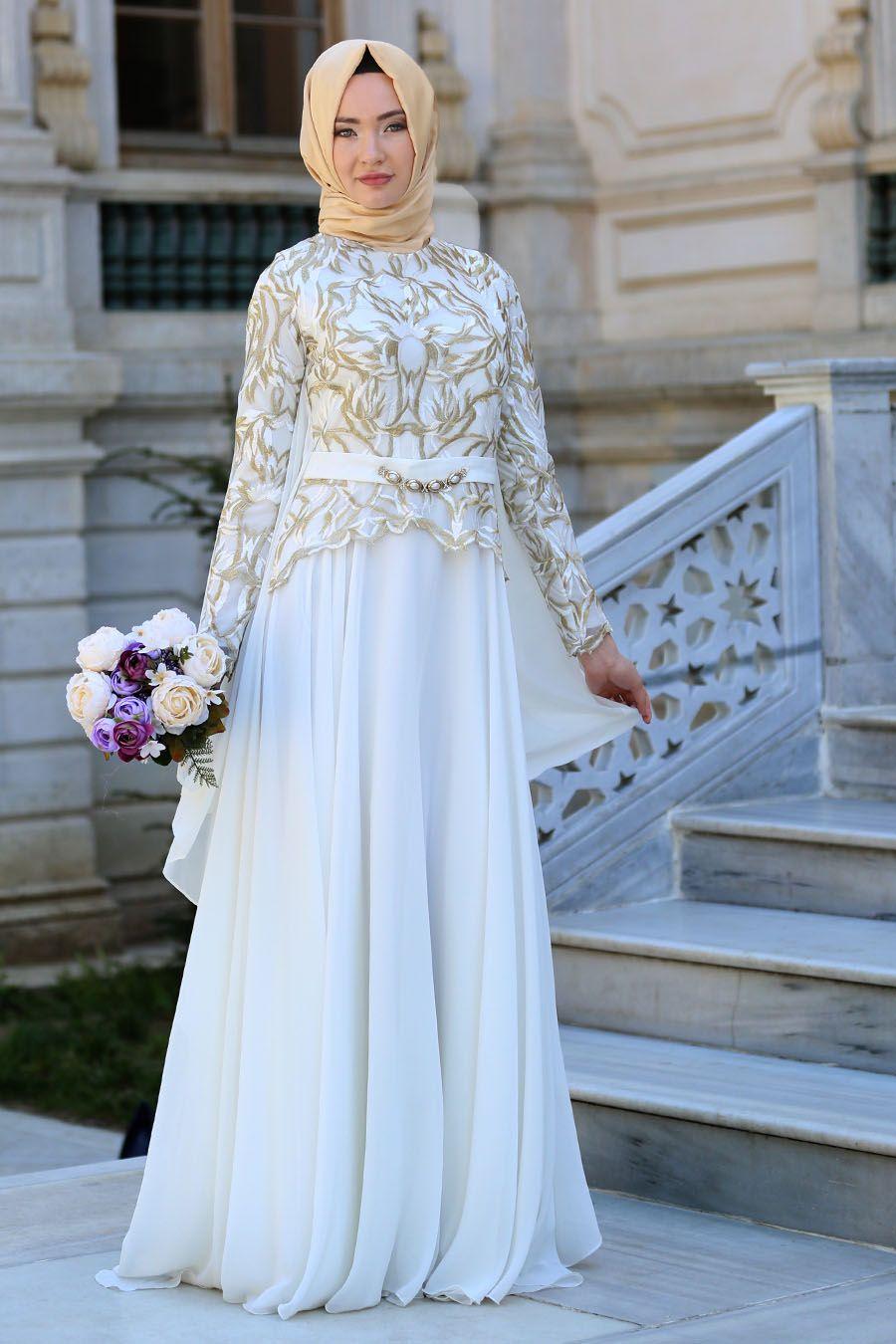 4a05920a17643 2018/2019 Yeni Sezon Özel Tasarım Abiye Koleksiyonu - Tesettürlü Abiye  Elbise - Beyaz Tesettür