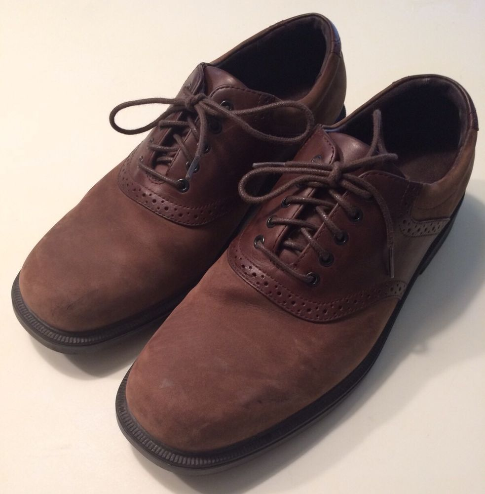 Rockport Mens Two Tone Brown Tan Leather Suede Saddle Shoes Lace Up Oxfords  9 M #