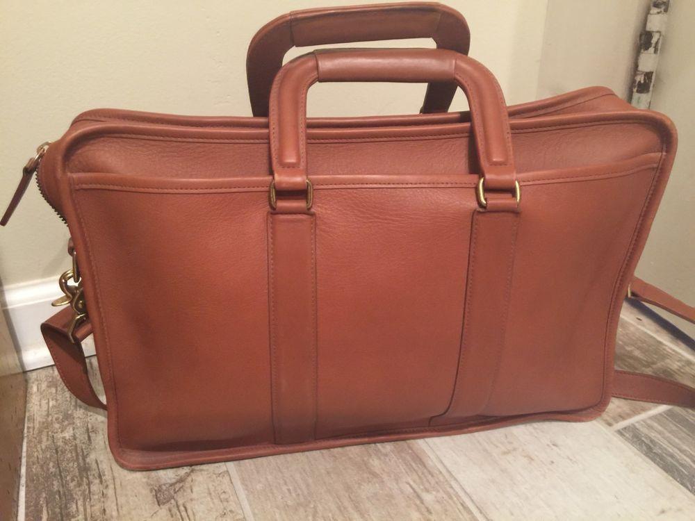 VTG COACH 5296 Genuine Ligh Brown Leather Briefcase Attache Laptop ... a3386ec56e638