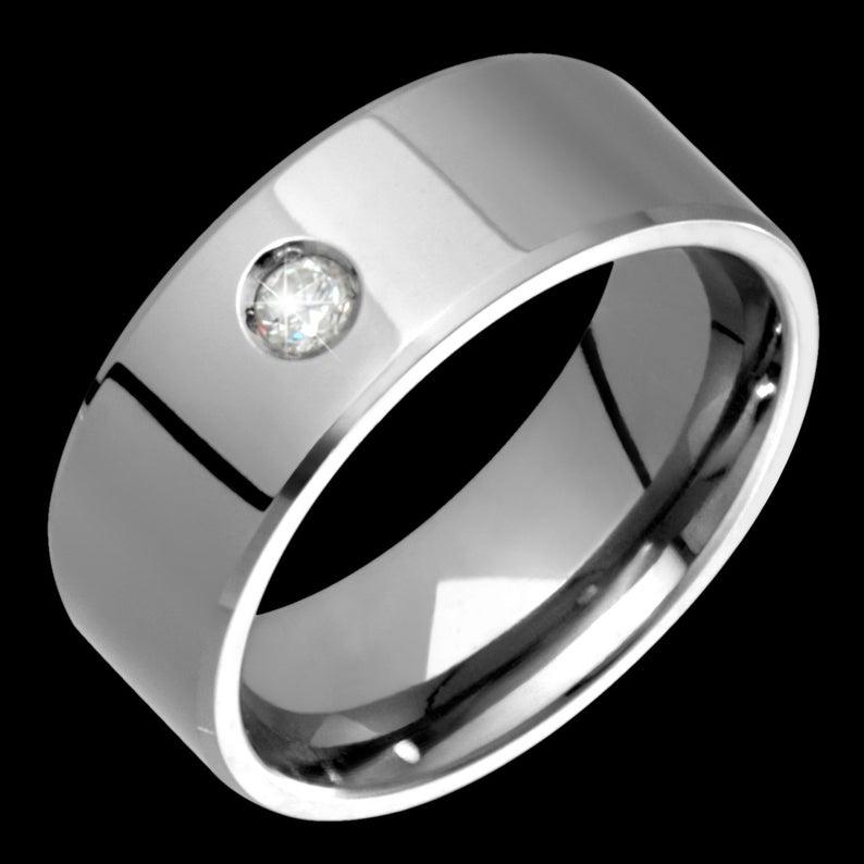 8mm Mens Titanium & Diamond Wedding Band Custom Made