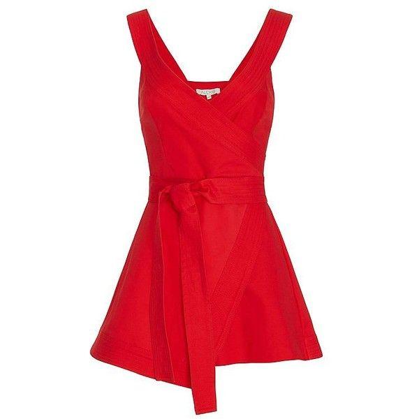 Summer 2016 Look Book | Shop IntermixOnline.com ($517) ❤ liked on Polyvore featuring golf skirts, v neck romper, red skort, wrap skort and playsuit romper