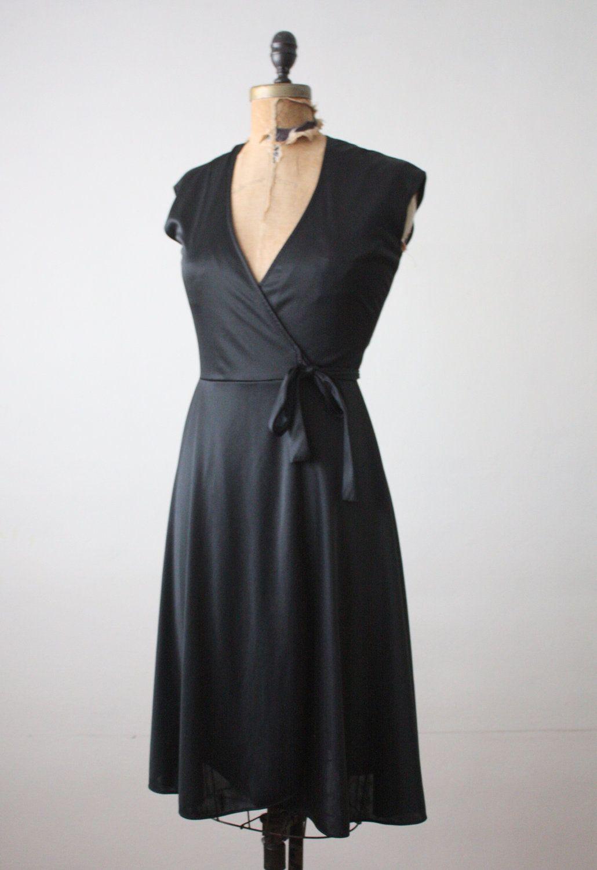 Vintage us black wrap dress in the shop pinterest wrap