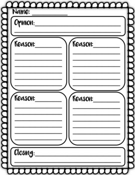 10 opinion writing graphic organizer