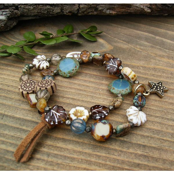 Czech Glass Bracelet Set Rustic Boho Eclectic White Blue Amber Stack... ($52) ❤ liked on Polyvore featuring jewelry, bracelets, star jewelry, beading jewelry, boho jewellery, bohemian jewelry and hippie jewelry