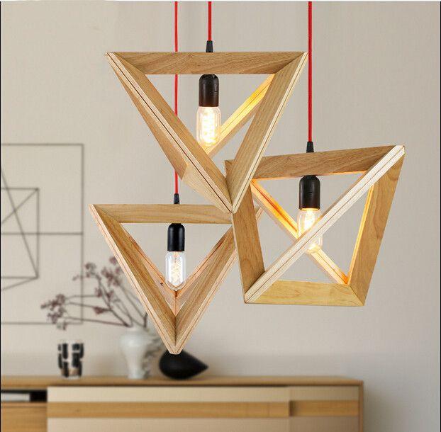 Modern TFL Pendant Lamp Handmade Wooden Light Quadrihedron Suspended  Lighting Shade Hanging Light