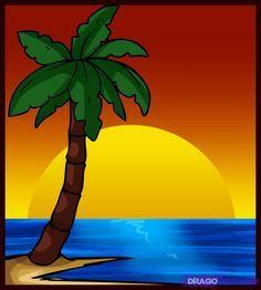 How To Draw A Palm Tree By Dawn Schilderen Ideeen Palmboom Schilderij