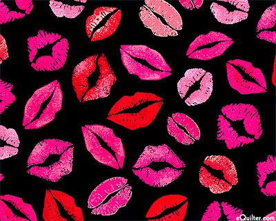 Kisses Fabric Black Red Pink Lip Wallpaper Pink Iphone Equilter