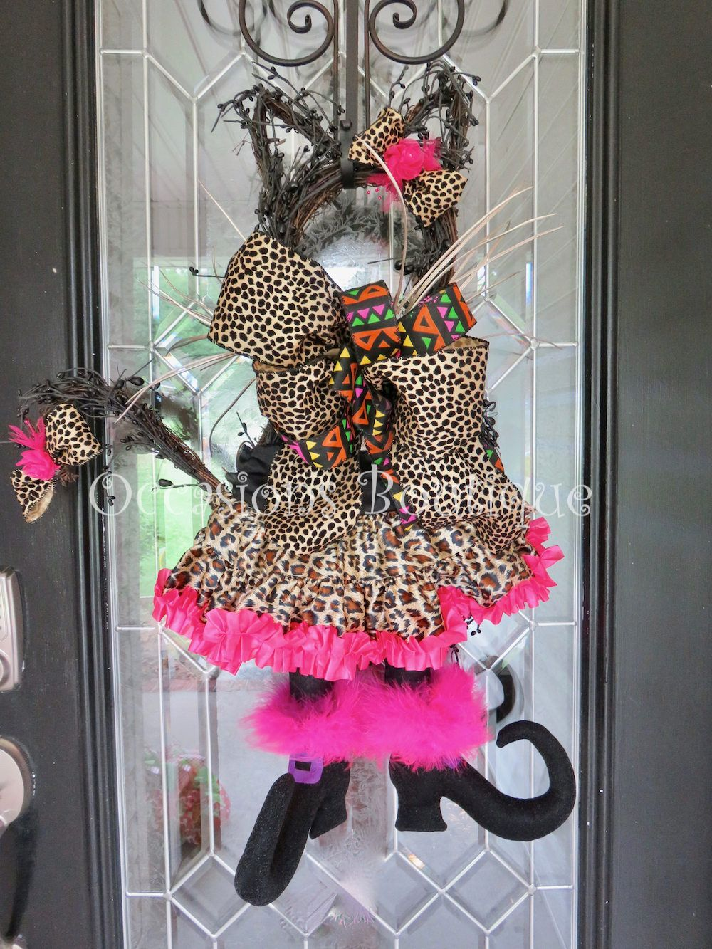 Halloween Wreath, Halloween Witch Cat Door Hanger, Halloween - Whimsical Halloween Decorations