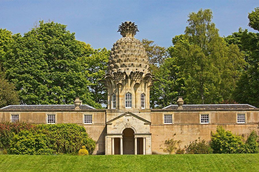 Take a tour of the world's most beautiful and unusual garden follies, including Scotland's Dunmore Pineapple, named for its unique dome