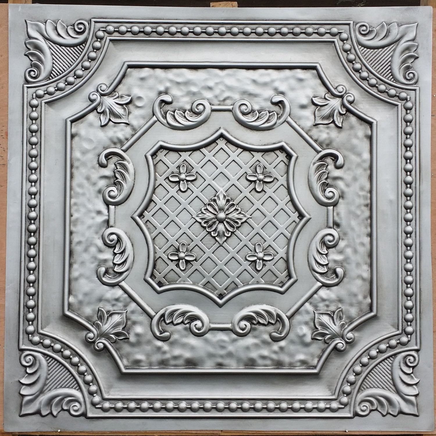 pl04 faux tin finished antique silver 3d embossed ceiling tiles