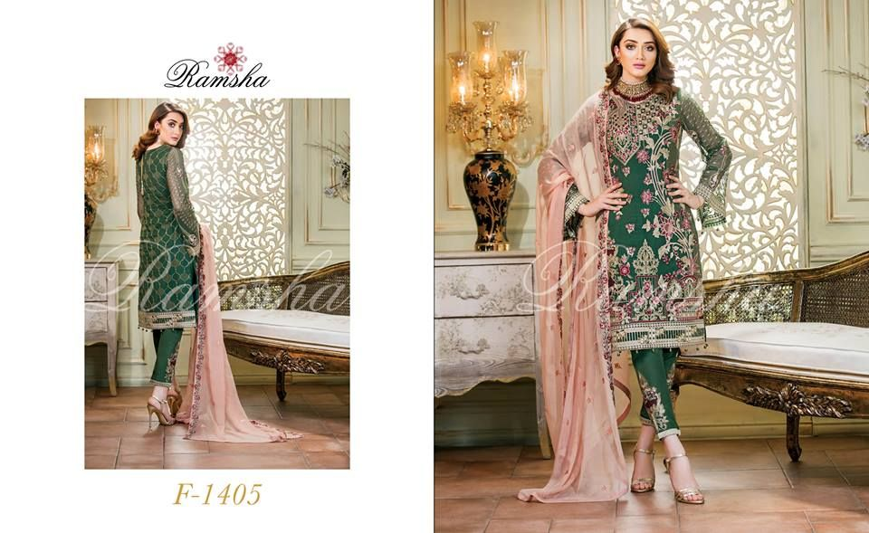 a9305cafda Perfection Glaze Embroidered Chiffon Collection By Ramsha - PK Vogue ...