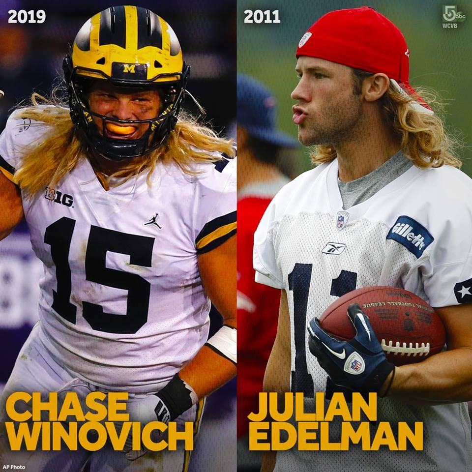 The Patriots Newest Nfldraft Pick Chase Winovich Kind Of Has Hair Just Like Julian Edelman Had In 2011 Welcome To The Julian Edelman Edelman Patriots Fans