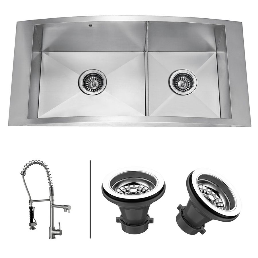 Shop Vigo Kitchen Sets 12 Gauge Double Basin Topmount Stainless Steel Kitchen Sink With Faucet At Lowes Com 1109 Sink Double Basin Kitchen Sink Kitchen Sink