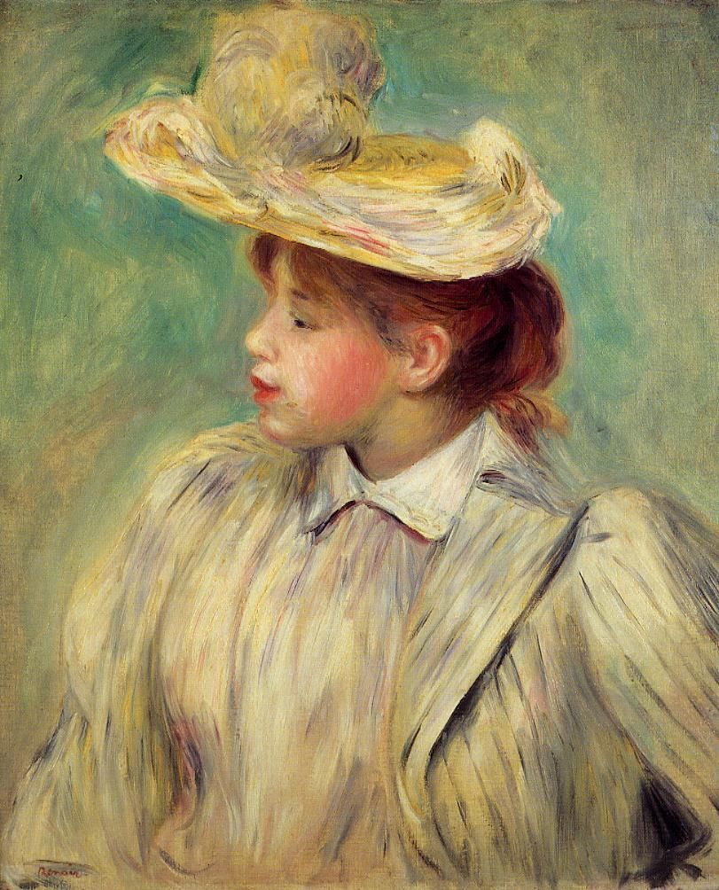 Pierre-Auguste Renoir (1841-1919) - Young Girl in a Straw Hat