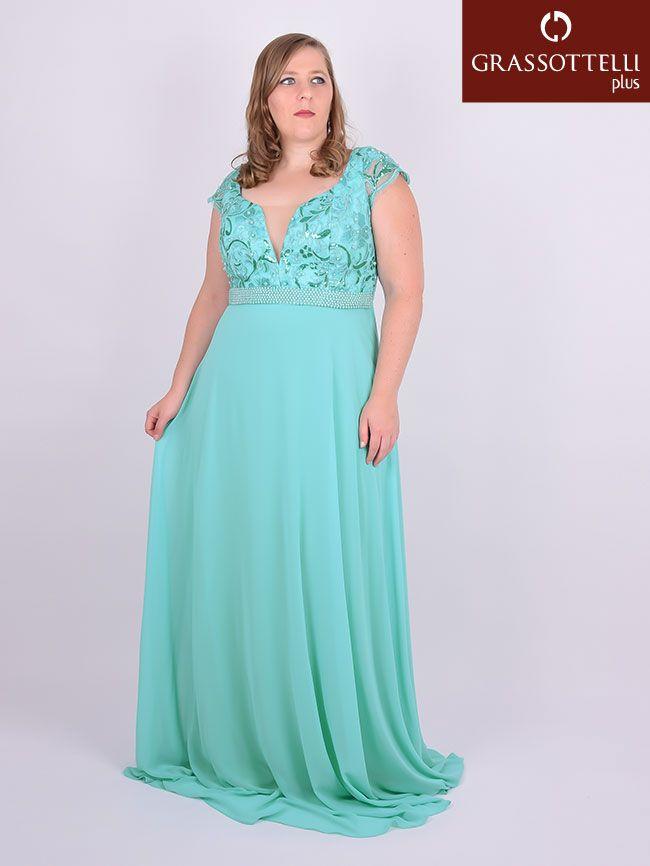 c3c7674a8 Vestido Longo Festa Bordado Verde Tiffany Plus Size