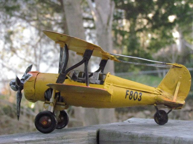 Metal Toy Airplane Yellow Vintage Style Hanging Air Plane