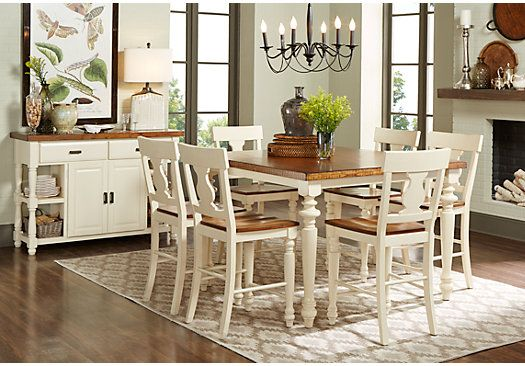 Picture Of Hillside Cottage White 5 Pc Counter Height Dining Room Delectable Dining Room With Kitchen Designs Design Inspiration