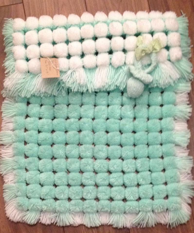Pom Pom Blanket In Mint Green Pom Pom Rug Pom Pom