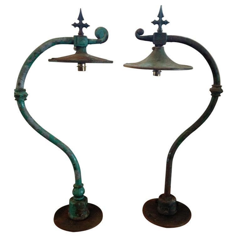 Heavy Cast Iron 19th C English Railway Station Lanterns Uk 1890 Lights Floor Lamp Railway Station