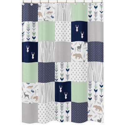 Sweet Jojo Designs Woodsy Shower Curtain In Navy Mint Striped