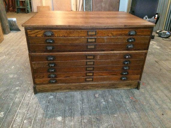 Stunning vintage oak wood flat file blueprint cabinet wonderful stunning vintage oak wood flat file blueprint cabinet wonderful collectible piece that will really add malvernweather Images