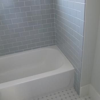 White And Gray Bathroom With With 3x6 Daltile Desert Gray
