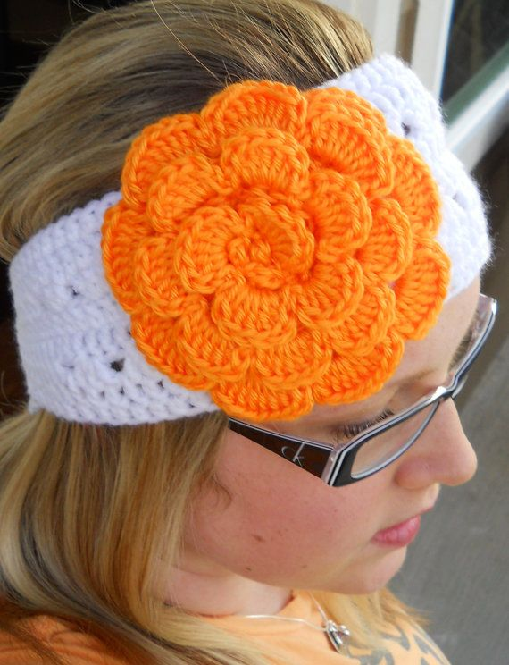 Ear warmer with flower | Knit and Crochet | Pinterest