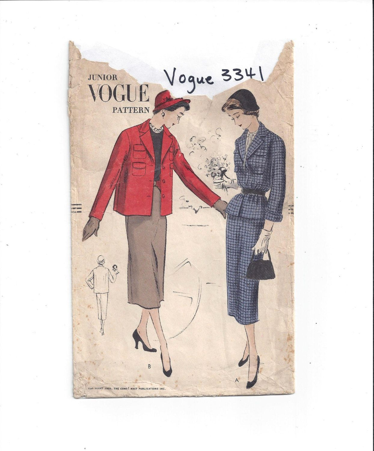 Vogue 3341 Pattern for Juniors' Suit, From 1950, Size Small, NON-Printed Pattern, Vintage Pattern, Home Sewing Pattern, 1950s Fashion Sewing by VictorianWardrobe on Etsy